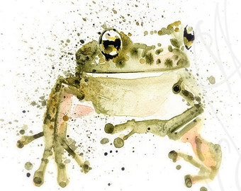 "Martinefa's Original watercolor and Ink ""Frog"""