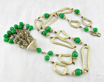 Vintage Gold Tassel Necklace, Long Pearl Bead Chain Tassel, Faux Green Jade Necklace, Abstract Gold Circle Necklace, 1960s Statement Jewelry