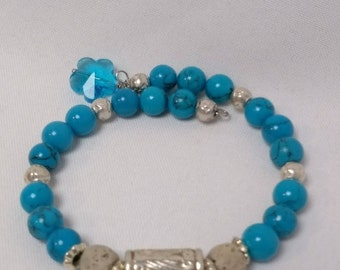 Essential Oil Diffuser Bracelet of Turquoise & Lava Rocks with Silver Accents and Crystal Charm