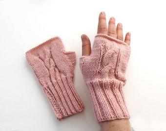 Autumn Trend, Hand Knit Fingerless Gloves. Medium size fits most.   Winter Fashion. Arm Warmers, Cable Knit Fingerless Gloves