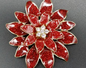 Gorgeous Vintage Poinsettia Flower Holiday Brooch
