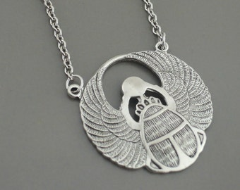 Silver Necklace - Art Deco Necklace - Egyptian Necklace - Scarab Necklace - Statement Necklace - handmade jewelry