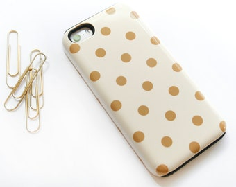 iPhone 6S Case Polkadot iPhone SE Case, Polka Dot iPhone 5S Case, Gold iPhone 6 Case Polka Dot Pattern  Case Spotted
