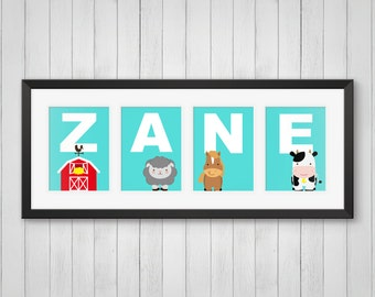 Farm Animal Prints - Personalized Name Print - Farm Animal Wall Art - Farm Animal Decor - Farm Nursery Art - Individual 4x6, 5x7, 8x10
