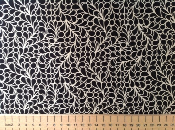 High quality cotton poplin, abstract black and white print
