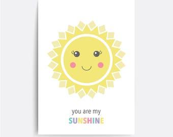 Sun Nursery wall art, You are my sunshine, Kids Print, Instant Digital Download, Sun Nursery, Weather printable, Gift for baby girl or boy