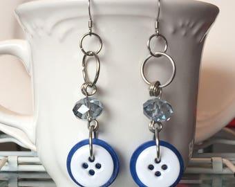 Blue Jae Button Dangle Earrings