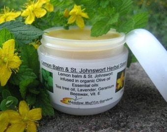 Lemon Balm, St. Johnswort Herbal Salve, Balm, Lips, Mouth Care