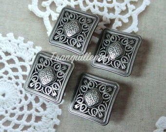 4 Large Retro Vintage Style Dark Silver Color Square Floral Flower Jacket Coat Sweater Metal Button 2.3 Cm / 0.9 Inches