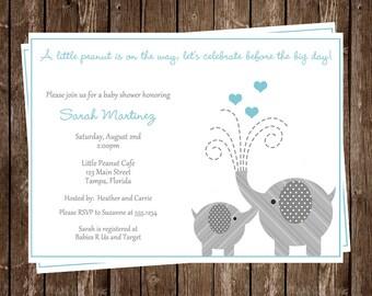 Baby Shower Invitations, Boy, Elephant, Little Peanut, Birthday, 1st Birthday, Sprinkle, Hearts, Blue, Aqua, 10 Printed Invites, FREE Ship