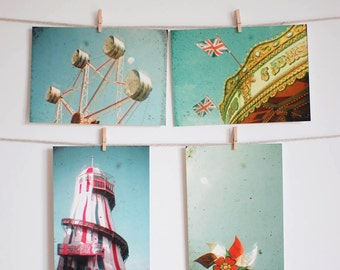 Postcard Set, Carnival Photography, Ferris Wheel Art, Carousel Photo, Affordable Art - The Fair