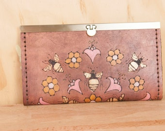 Leather Checkbook Wallet - Ladies Clutch Wallet - Meadow pattern with bees, honeycomb and flowers - Pink, gold, antique mahogany - Handmade