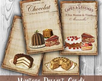 Vintage Desserts Digital Collage Sheet - Digital Paper Printables