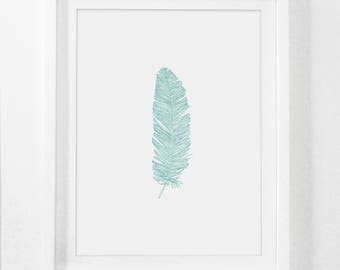 Feather Print, Turquoise Feather Art, Nursery Feather Art, Blue Feather Print, Blue Turquoise Digital Art, Wall Print, Teal Wall Decor