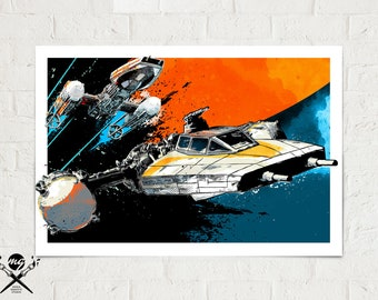 Star Wars Rogue One Art - Y-Wing Starfighter - Star Wars Poster, Art Print, Star Wars Fan Art Print, Rebel Y-Wing fighter, Star Wars Gift