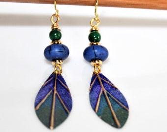 Earrings * Peacock feather *.