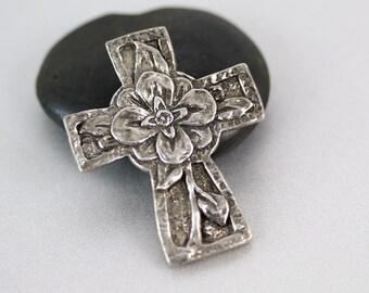 Pewter Cross Pendant - Flowers - Silver Cross - 37mm