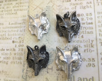 Hand Cast Pewter Fox Pendant Made in USA Choice of Finish