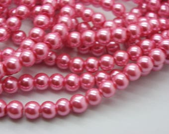 150 6 mm mother of Pearl 6 mm Fuchsia glass beads