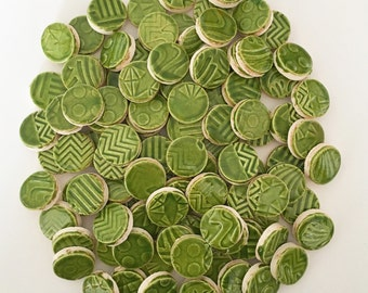 FOLIAGE GREEN CIRCLE Mosaic Tiles
