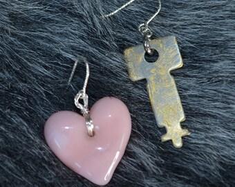 Glass Heart & Vintage Key Earrings