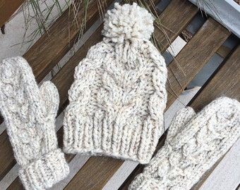 Cable Knit Hat and Mitten Matching Set