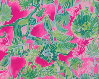 "catty shack dobby cotton fabric square 18""x18"" ~ lilly spring 2018 ~ lilly pulitzer"