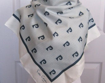 Pierre Cardin scarf . designer scarf. blue and white Pierre Cardin scarf . signed scarf . 60s Pierre Cardin scarf