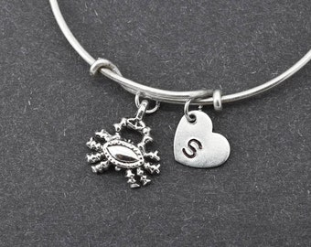 Crab Bangle, Sterling Silver Bangle, Crab Bracelet, Bridesmaid gift, Personalized Bracelet, Charm Bangle, Initial Bracelet,Bridesmaid Gift