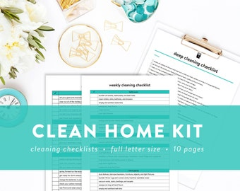 Clean Home Kit - Cleaning Checklists - Chevron - Daily, Weekly, Monthly, Seasonal, and Annual Cleaning Checklists - INSTANT DOWNLOAD