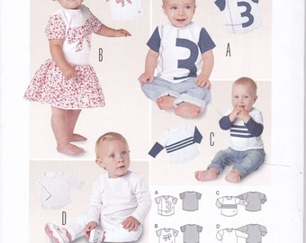 FREE US SHIP Burda 9408 Uncut Size 1 mo to 1 2 3 Toddler Baby Kids Boy Girl Top Shirt Sports Jersey  Factory Folded