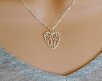 Hearts wings necklace.Sterling silver. Gift for her. Bridesmaid gift.UK seller