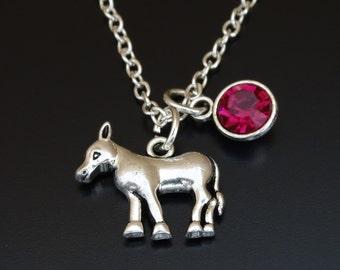 Donkey Necklace, Donkey Jewelry, Donkey Charm, Donkey Pendant, Farm Jewelry, Farm Necklace, Farm animal jewelry, Burro jewelry,