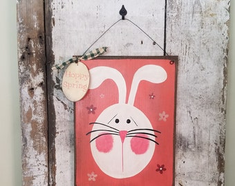 Primitive Bunny, Primitive Rabbit, Spring Sign, Spring Decor, Country Bunny, Painted Rabbit, Painted Bunny, Primitive Decor, Wood