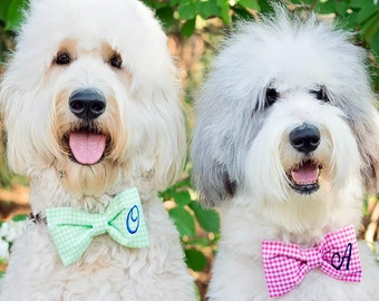 Blue Monogram Dog Bow Tie - Personalized Gingham Pet Bow Tie with 1, 2 or 3 Initials - Best Custom Bow Ties by Three Spoiled Dogs