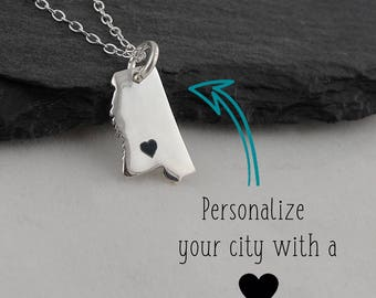 Personalized Mississippi State Charm Necklace with Engraved Heart Near Your City - 925 Sterling Silver