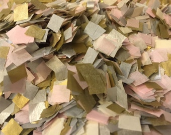 Wedding Confetti / Cream, Pink and Metallic Gold Silver Confetti / Biodegradable Confetti / Wedding Decoration / Ivory Blush Silver and Gold