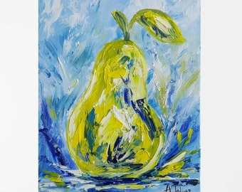"""Fruit painting Pear painting Colorful art Fruit art Pear art Colorful painting Original oil painting Still Life Kitchen art Blue green 8x10"""""""