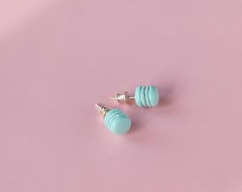 Mint stud earrings Miniature food earrings Mint macarons Silver post earrings Aqua earrings Contemporary earrings kawaii earstuds