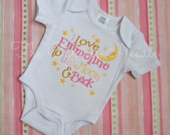 I love you to the Moon and Back, Baby Girl Outfit, Moon and Stars Gift, Gender Neutral Baby, Moon Stars Bodysuit, Moon Stars Baby, Pink Gold