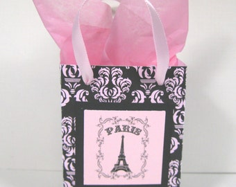 10 Paris Eiffel Tower Favor Bags - Ooh La La Party Favor Bags - Black and Pink Damask Favor Bags - Small Shopping Bags - Paris Gift Bags