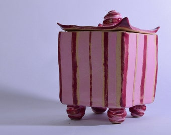 Pink candy stripe trinket box, ceramic box with stripes and candy swirl feet and handle