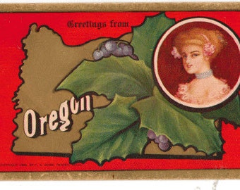 Vintage postcard, Greetings from Oregon, State Flower, Lovely Lady, 1910