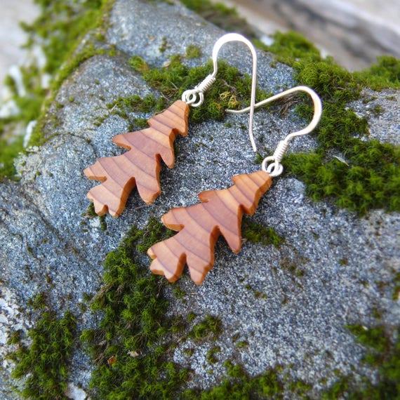 Wood Earrings, Small Oak Leaf earrings, Sterling Silver leaf earrings, Natural jewelry, Leaf Jewelry earrings, Earthy earrings, Nature lover
