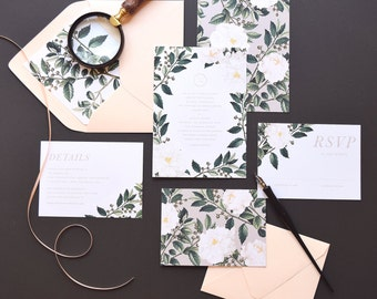 Ainlsey Wedding Invitation & Correspondence Set / Botanical florals and greenery / Sample Set