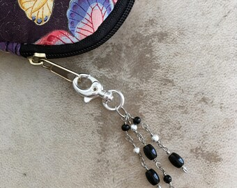 Purse Charm Skull and Crossbones Beaded Goth Zipper Pull Halloween Keychain