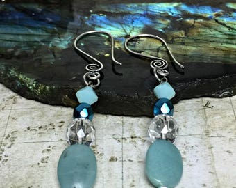 Amazonite Earrings - Gemstone Jewelry, Green Gifts, Teal Earrings, Womens Earrings, Earrings For Her, Amazonite Stone, Swarovski Crystals