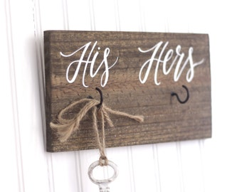 His and Hers Key Holder Sign, Rustic Home Decor, Key Hanger, Housewarming Gift, Bridal Shower Wedding Gift, Christmas Gift