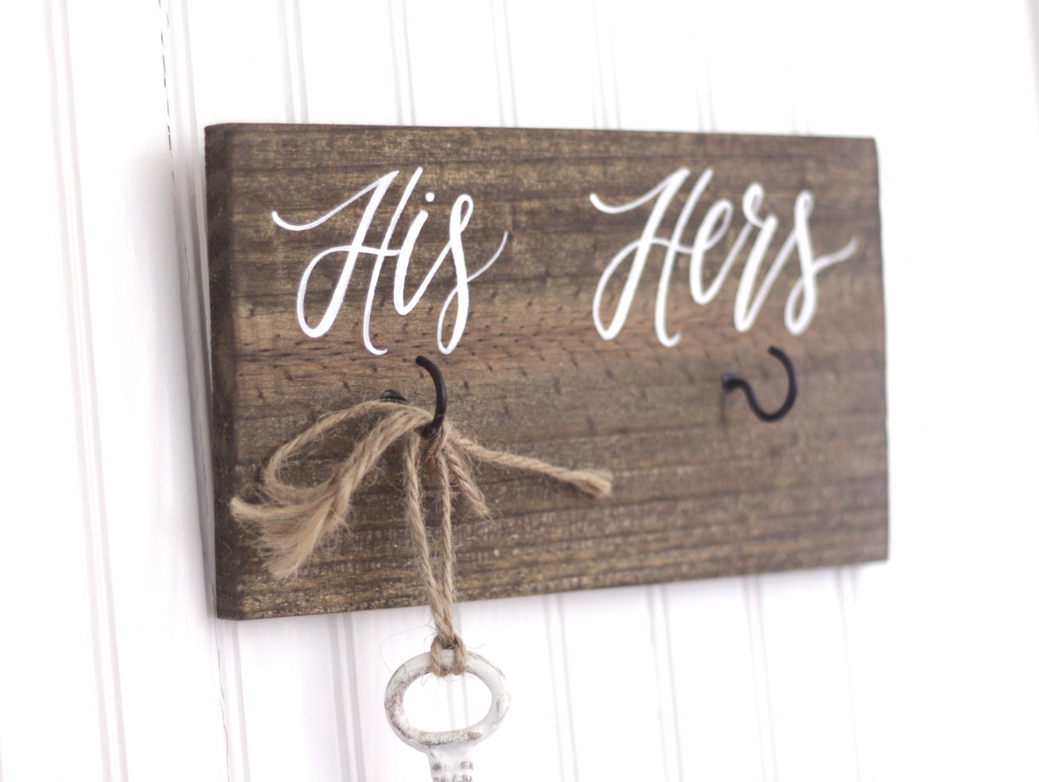 His and Hers Key Holder Sign Rustic Home Decor Key Hanger