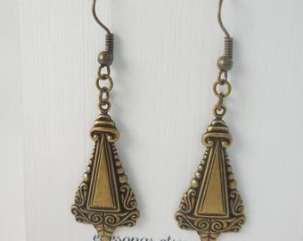 Art Deco Earrings, antiqued gold, lightweight